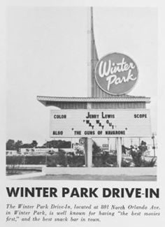 Since Winter Park is right next to Orlando, went here many times.  It's 'sister' drive-in was Kuhl Ave Drive-in (later changed to Orange Ave)