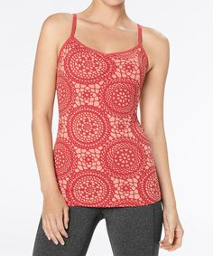 Take a look at this Coral Haze Crocheted Print Heart Center Camisole by lucy on @zulily today! So cute!