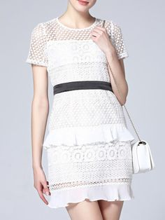 Buy it now. White Crochet Hollow Out Ruffle Shift Dress. White Round Neck Short Sleeve Polyester Shift Short Fabric has no stretch Summer Casual Day Dresses. , vestidoinformal, casual, camiseta, playeros, informales, túnica, estilocamiseta, camisola, vestidodealgodón, vestidosdealgodón, verano, informal, playa, playero, capa, capas, vestidobabydoll, camisole, túnica, shift, pleat, pleated, drape, t-shape, daisy, foldedshoulder, summer, loosefit, tunictop, swing, day, offtheshoulder, smock...