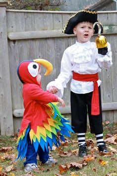 Cute DIY Pirate and Parrot Costume | 25 Argh-tastic DIY Pirate Costume Ideas