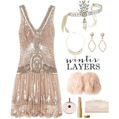 Roaring 20s theme party : Winter Layers: Slip Dress by im-karla-with-a-k on Polyvore featuring polyvore, fashion, style, Daizy Shely, Judith Leiber, Sara Weinstock, Lalique, Plein Sud, Gatsby and clothing