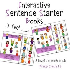 """I Feel"" Interactive / Adapted Sentence Starter Books - Speech / Special Ed"