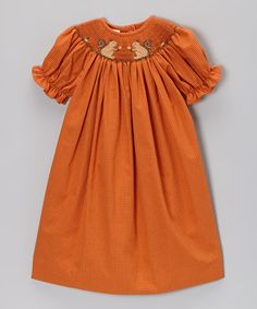 Take a look at this Orange Squirrel Bishop Dress - Infant, Toddler & Girls by Smocked Giraffe on #zulily today!