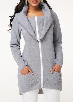 Women's Grey Long Sleeve Zipper Front Casual Sweatshirt With Pockets Grey Zipper Front Long Sleeve Pocket Sweatshirt Look Fashion, Womens Fashion, Fashion Coat, Moda Online, Outerwear Women, Jackets Online, Grey Sweatshirt, Hoodies, Sweatshirts