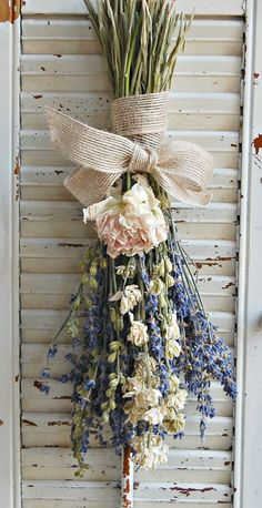 Dried Lavender  Bouquet with Dried Larkspur