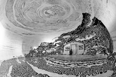 Artist Oscar Oiwa is behind a panoramic fresco representing a stunning Japanese landscape inside a former soy sauce warehouse. He places an inflatable dome in o 3d Street Art, Easy Drawings, Pencil Drawings, Drawing People Faces, Fine Art Drawing, Japanese Landscape, Colossal Art, Landscape Drawings, Black And White Drawing