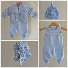 Ravelry: Kirstisi's Hentesett I Blått - Diy Crafts - maallure Baby Dungarees, Baby Jumpsuit, Baby Dress, Knitted Baby Cardigan, Knitted Baby Clothes, Sirdar Knitting Patterns, Layette Pattern, Pull Bebe, Baby Mittens