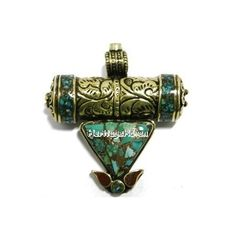 A combination of inlaid turquoise, coral and brass with geometrical and nature-inspired shapes is what makes this pendant very unique. To add to the character is a cylindrical tube box to keep your blessed prayers ...