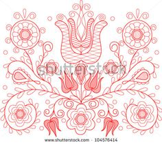 Vector illustration of beautiful Transylvanian hungarian folk motif - stock vector