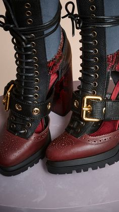 Burgundy red Leather and Snakeskin Cut-out Platform Boots 3 Platform Boots, High Heel Boots, Bootie Boots, Shoe Boots, High Heels, Shoes Heels, Shoe Bag, Cute Shoes, Me Too Shoes