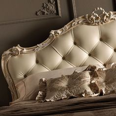 Luxury Carved Rococo Reproduction Leather Button Upholstered Bed at Juliettes Interiors. Royal Furniture, Bedroom Furniture, Bedroom Decor, Italian Furniture, House Furniture, Luxury Furniture, Cama Futon, Luxury Bedroom Design, Cheap Bed Sheets