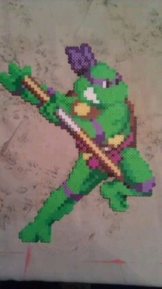 Donatello made of perler beads. Sprite from Teenage Mutant Ninja Turtles IV: Turtles in Time