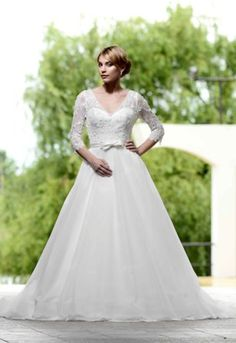 A-line wedding dress with lace and embroidered details