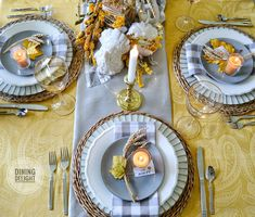 The tablescape I created for Thanksgiving this year was inspired by a recent ad by Pier 1 Imports (yes, again!) which included shades of o. Fall Table Settings, Thanksgiving Table Settings, Thanksgiving Tablescapes, Small Pumpkins, White Pumpkins, Wheat Centerpieces, Grey Pumpkin, Square Glass Vase, Grey Runner