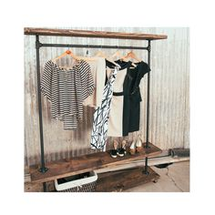 SALE - Pipe Furniture - Industrial Clothing Rack - I Rack Double Shelf