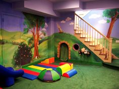 Fun Ideas for Kids Basement Playroom - Sortrature Kids Basement, Basement Ideas, Kids Gym, Playroom Decor, Playroom Ideas, Indoor Playroom, Sensory Rooms, Home Daycare, Kids Zone