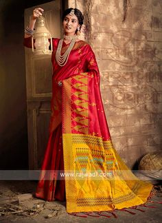 Raw Silk Weaving Work Saree... Sari, Lehenga Choli, Work Sarees, Art Silk Sarees, Traditional Sarees, Deep Red Color, Party Wear Sarees, Western Wear, Red Art