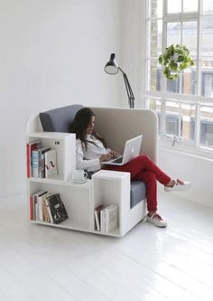How cool is this chair/bookshelf/workspace?