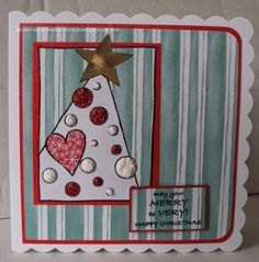 Handmade Christmas card. Woodware Clear Magic Treemendous Dots stamps set. Paper piecing.
