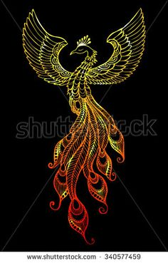 Phoenix Bird emblem drawn in tattoo style. - stock vector
