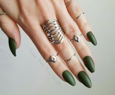 Olive Military Army Green - Fake Nails - Press On Nails - Matte Nails - Stiletto, Oval, Square, Coffin/Ballerina by ExhaleHate on Etsy https://www.etsy.com/listing/269414805/olive-military-army-green-fake-nails