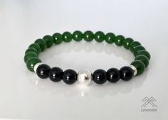 Mens bracelet. Green Jade and Black Onyx bracelet. by LevenimOfficial on Etsy https://www.etsy.com/uk/listing/525083162/mens-bracelet-green-jade-and-black-onyx