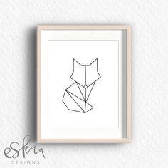 Geometric Fox Printable by Eskaa Designs . Geometric Elephant, Geometric Fox, Geometric Drawing, Wall Drawing, Art Drawings, Art Fox, Art Deco Posters, Fox Print, Diy Canvas Art
