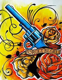 Tattoo Flash Revlover Art Forget Regret by lalalori on Etsy
