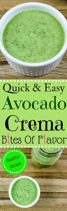 Quick & Easy Avocado Crema-Fresh ingredients made into a sauce in under 5 minutes without any preservatives. Great for tacos or salad! Weight Watcher friendly (0 SmartPoints). www.bitesofflavor.com