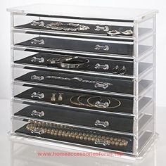 Deluxe 7-drawer Jewelry Chest or Cosmetic Organizer with Removable Drawers and Liners BUY NOW     $69.89    When the standard jewelry box simply isn't enough storage, this 7-drawer chest is ample! Made of sturdy, durable acrylic and b ..  http://www.homeaccessoriesforus.top/2017/03/20/deluxe-7-drawer-jewelry-chest-or-cosmetic-organizer-with-removable-drawers-and-liners-2/