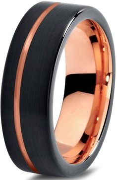 Tungsten Wedding Band Ring 7mm for Men Women Black and 18K Rose Gold Plated Pipe Cut Brushed Polished >>> You can get more details here : Fashion Jewelry