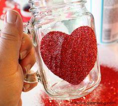 How to make a Glittered Heart Mason Jar mug -- after 28 days it will even be dishwasher safe!