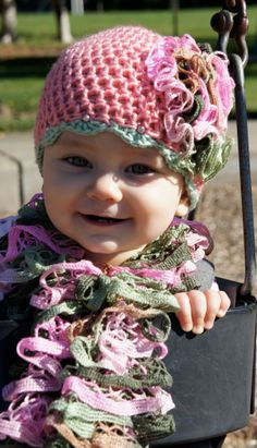Crochet baby hat and scarf for girls on Etsy, $30.00