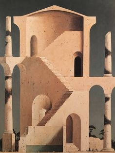 Vir·tu·al Ge·om·e·try - by Minoru Nomata, 1990 from the. Minimalist Architecture, Japanese Architecture, Historical Architecture, Fantasy Places, Spanish Artists, Fantastic Art, Wall Collage, Installation Art, Figurative Art