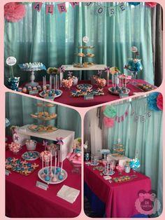 Mesa dulce de comunion rosa y azul