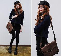 Blue Jacket, Black Sweater With White Collar, Ginger Wig, Black Boots, Basic Black Skirt, Second Hand Vegamössa
