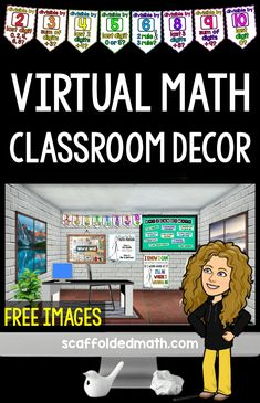 Images for your virtual math classroom, including posters and a growth mindset bulletin board. Includes video tutorials for creating your own bitmoji classroom Vocabulary Wall, Math Classroom Decorations, Math Bulletin Boards, Blended Learning, Classroom Posters, Teacher Tools, Growth Mindset, Teaching Math, Video Tutorials