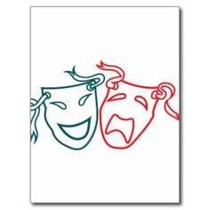 Comedy And Tragedy Masks Postcards & Postcard Template Designs ...
