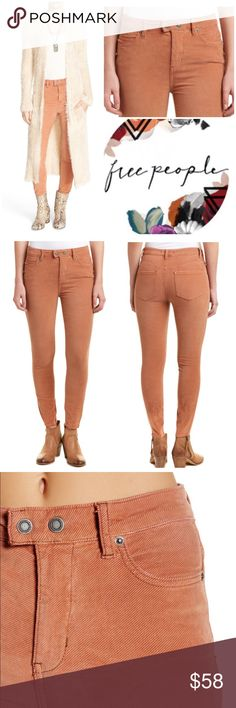 """Free People High Waist Plush Skinny Jeans New with tags. Free People High Waist Plush Skinny Jeans. Snap button closure. Color Blush Sienna. High waist. Pockets. Belt loops. Cotton blend. Soft corduroy feel. Stretch. Inseam 26"""". Rise 10.5"""". Waist 26. Free People Jeans Skinny"""