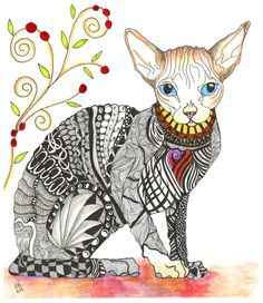 """Whimsical Zentangle® Inspired """"Hairless Sphynx"""" Completed 6-14-14.  A 12-pack of note cards are available for $23.00 with FREE shipping and handling.  Prints also available plus much more."""