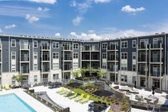 Overlooking the pool and outdoor seating area at Citron Apartments in Silver Spring, Maryland.