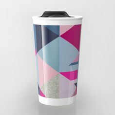 Pink, Blue and Silver Triangles Travel Mug