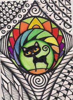 ACEO-Black-Cat-Rainbow-Colors-in-Design-Original-Art --- Winning bid: US $18.50 Approximately AU $23.07