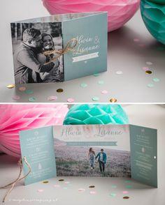 Ontwerp Marjolein Vormgeving. Trouwkaart Alwin & Lisanne #ontwerp #trouwkaart #luikvouw #mint #roze #foto #trouwen #kaarten #trouwkaarten #persoonlijk