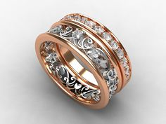Rose gold filigree engagement ring set with white sapphires, $2590.00