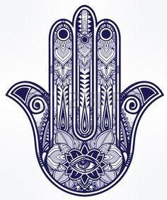 Elegant ornate hand drawn Hamsa Hand of Fatima Good luck amulet in Indian Arabic Jewish cultures  Stock Vector