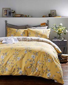 Yasmina Ochre Duvet Cover Set | Fashion World Yellow And Gray Bedding, Yellow Comforter, Yellow Bed Linen, Yellow Bed Sheets, Mustard Bedroom, Mustard Bedding, Gray Bedspread, Grey Bedding, Modern Bedding