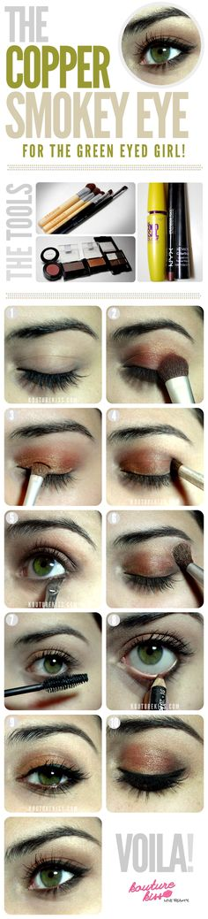 10 Creative And Useful Makeup Tutorials, The Copper Smokey Eye For The Green Eyed Girl