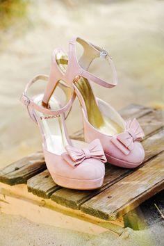 Elsa Coloured Shoes - Roza Bruidsschoenen Roze suède pump