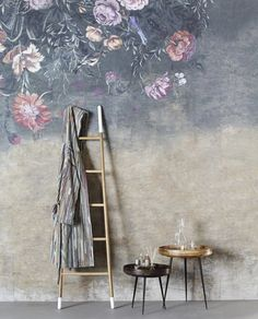Stunning mural SOUL from Wall & Deco Italy, colorful flowers on a stucco background.This vinyl wallpaper will be made on demand in the size you need and comes in roles of Bathroom Wallpaper, Vinyl Wallpaper, Collor, Contemporary Wallpaper, Interior Decorating, Interior Design, Texture Painting, Wall Treatments, Colorful Flowers